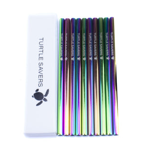 Picture of a ten pack of rainbow coloured sip straws.