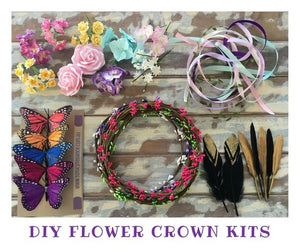 5 diy flower crown kit headband garland party favour girls princess fairy floral tiara craft
