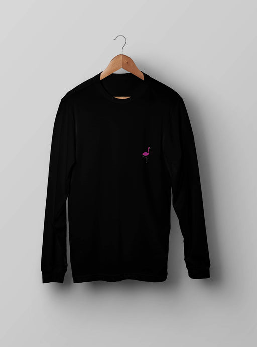 Pink Flamingo Black Sweatshirt - Kustom: Tees Factory