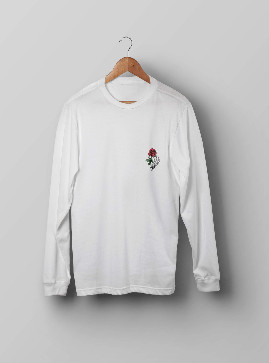 Skeleton With Rose White Sweatshirt