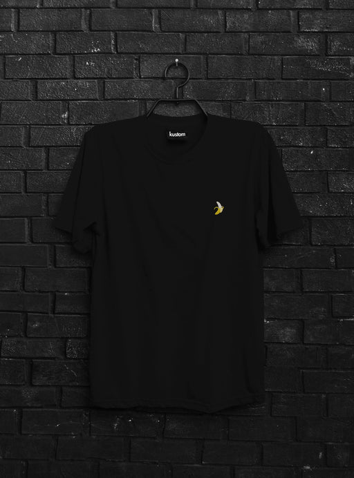 Banana Embroidered Black Tee - Kustom: Tees Factory