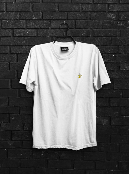 Banana Embroidered White Tee - Kustom: Tees Factory
