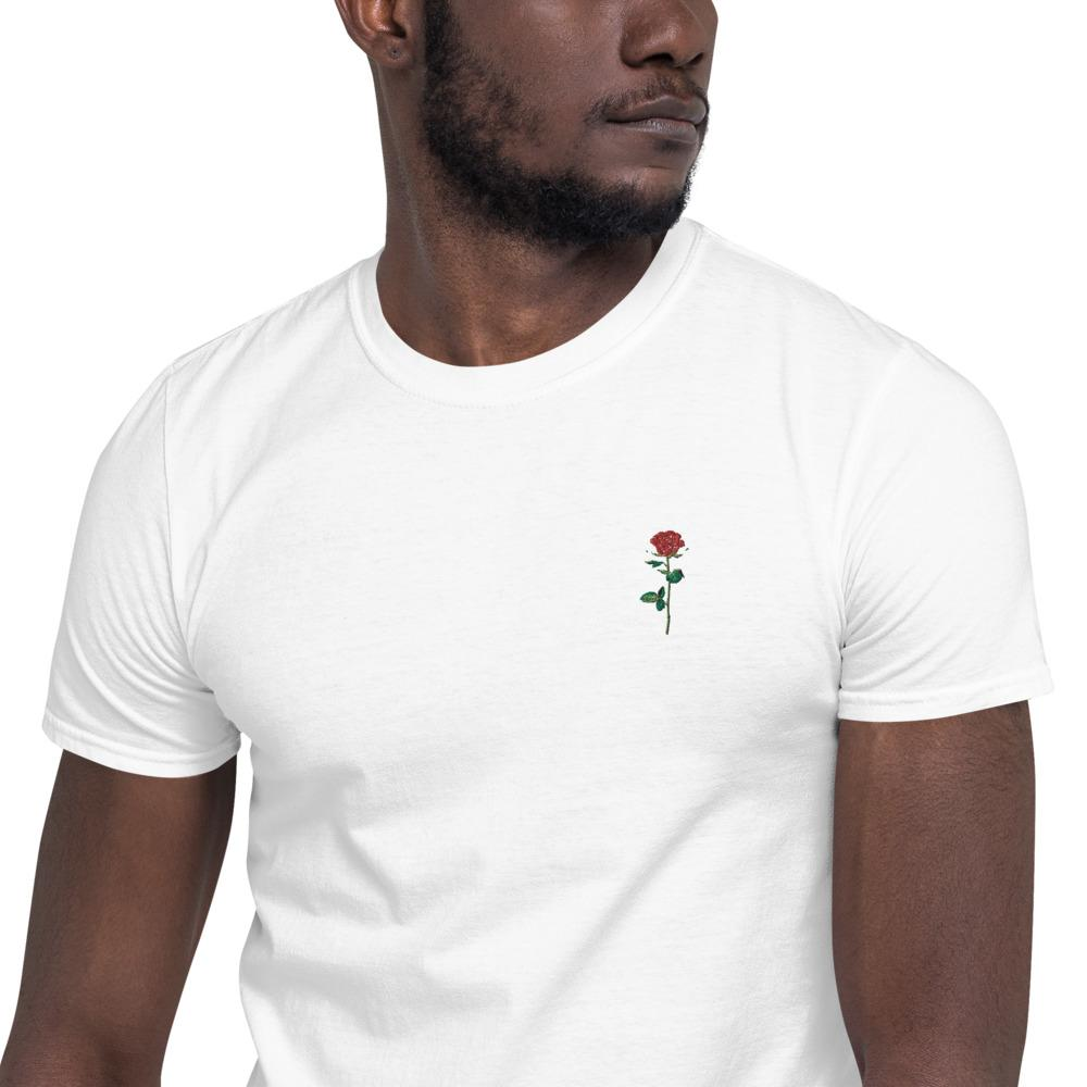 Red Rose Embroidered Tee - Kustom: Tees Factory