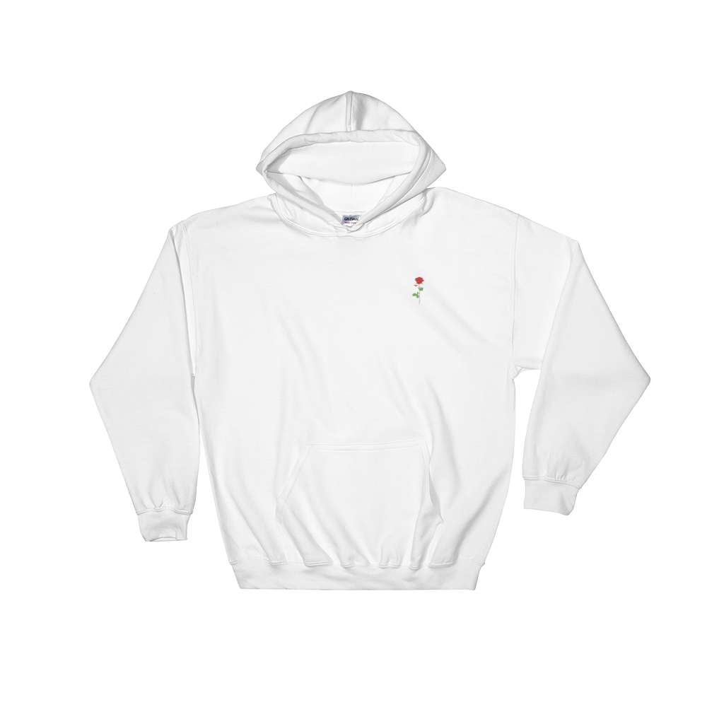 Red Rose Hoodie Embroidered
