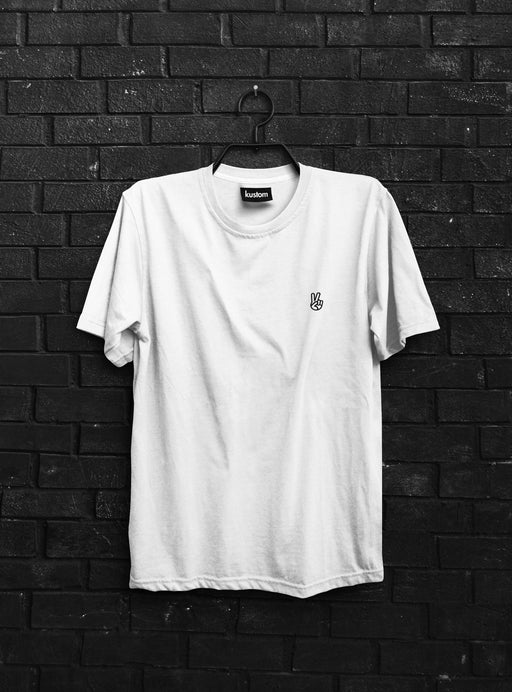 Peace White Embroidered Tee