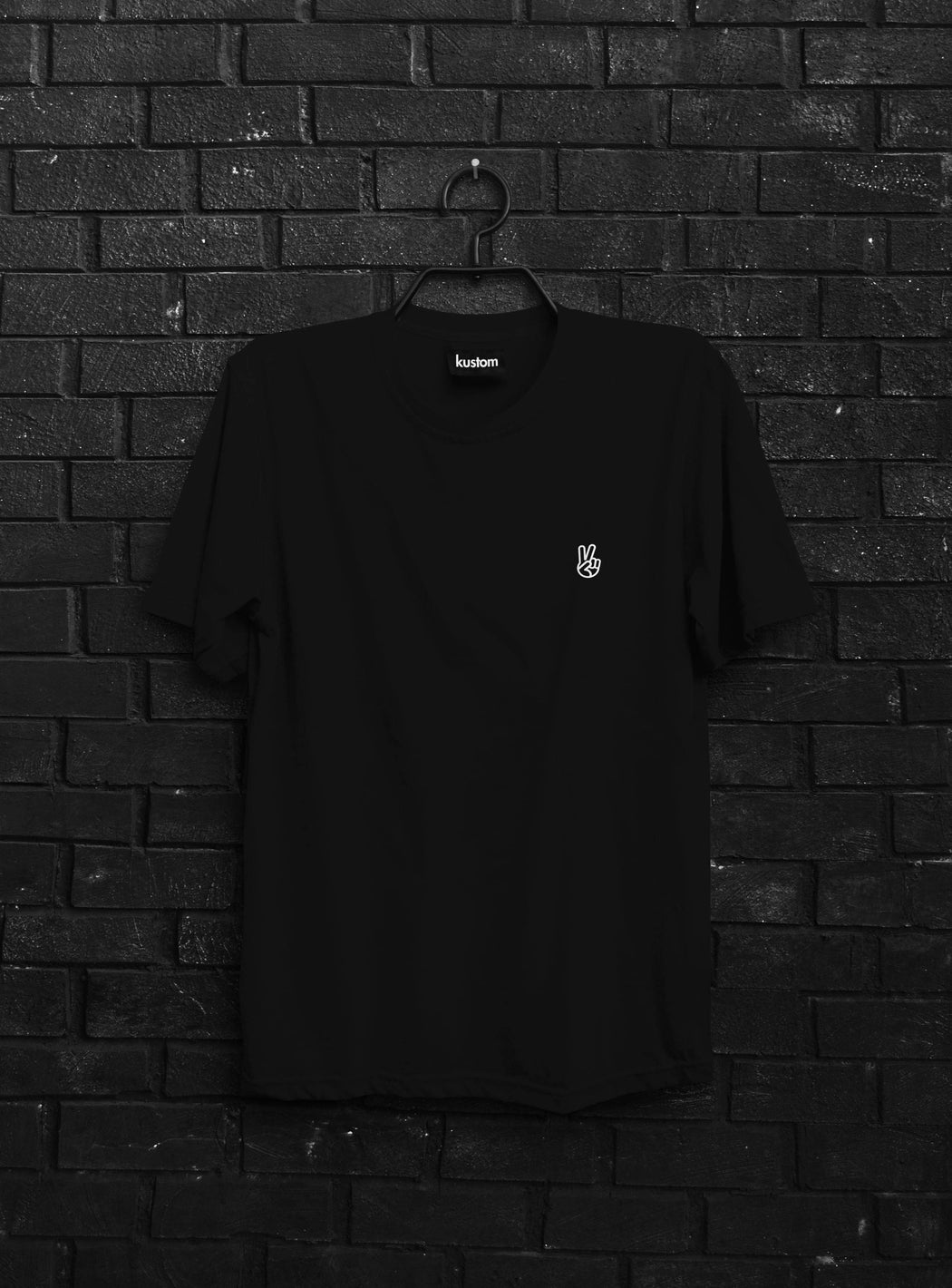 Peace Black Embroidered Tee
