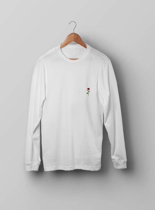 Red Rose White Sweatshirt - Kustom: Tees Factory