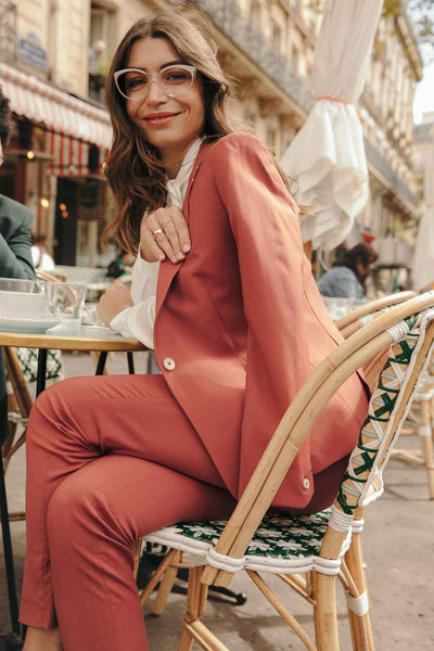 Pantalon tailleur New-York Rose Brique