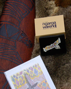 Ngarga Warendj - Dancing Wombat offers a range of giftwares, with designs that reflect South Eastern Aboriginal Art. Such as traditional artefacts like boomerangs and Shields, ceramics, cards, lapel pins, prints