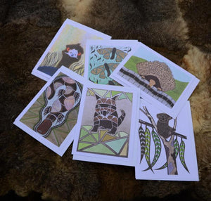Each card is a unique design by Ngarga Warendj - Dancing Wombat.  Micks art work is inspired by his South Eastern Aboriginal heritage.  Made in Australia in Gippsland, Victoria.