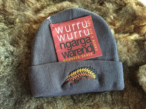 NGARGA WARENDJ BEANIE - SLATE GREY EMBRODIERED WITH GAWARRN THE ECHIDNA DESIGN