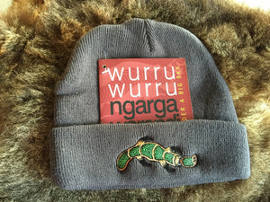 NGARGA WARENDJ BEANIE - SLATE GREY EMBROIDERED WITH BUDJA PLATYPUS GREEN DESIGN