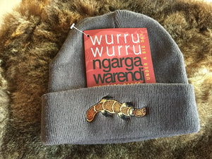 NGARGA WARENDJ BEANIE - SLATE GREY EMBROIDERED WITH BUDJA PLATYPUS BROWN DESIGN