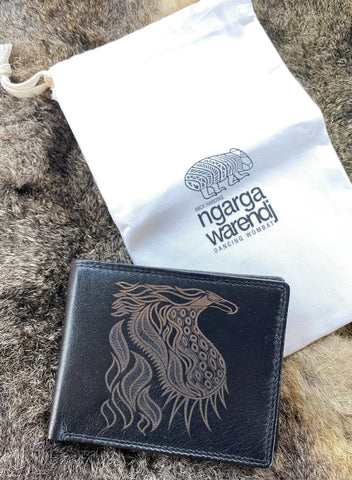 Ngarga Warendj - Dancing Wombat Mens Wallet in Black Leather with Bunjil the Wedge Tailed Eagle  Design