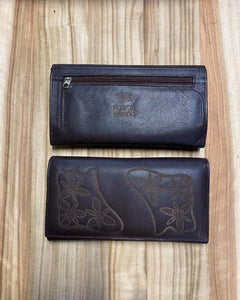 Ngarga Warendj - Dancing Wombat  Ladies Bi-fold Wallet in Brown Leather with  Gorgeous Native Vanilla Lillies Design