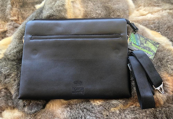 BLACK LEATHER MESSENGER COMPUTER BAG -  WOMINDJEKA GUM LEAVES DESIGN
