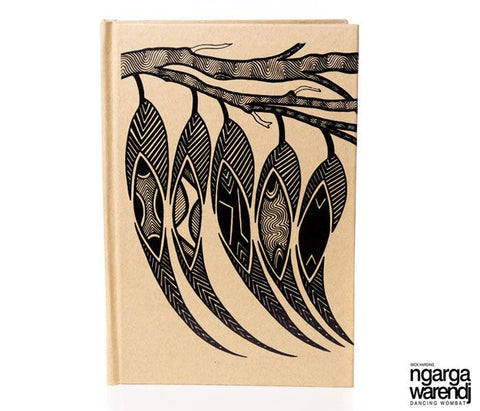 NGARGA WARENDJ DANCING WOMBAT HARD COVER A5 JOURNAL WITH GUM LEAF DESIGN-Ngarga Warendj