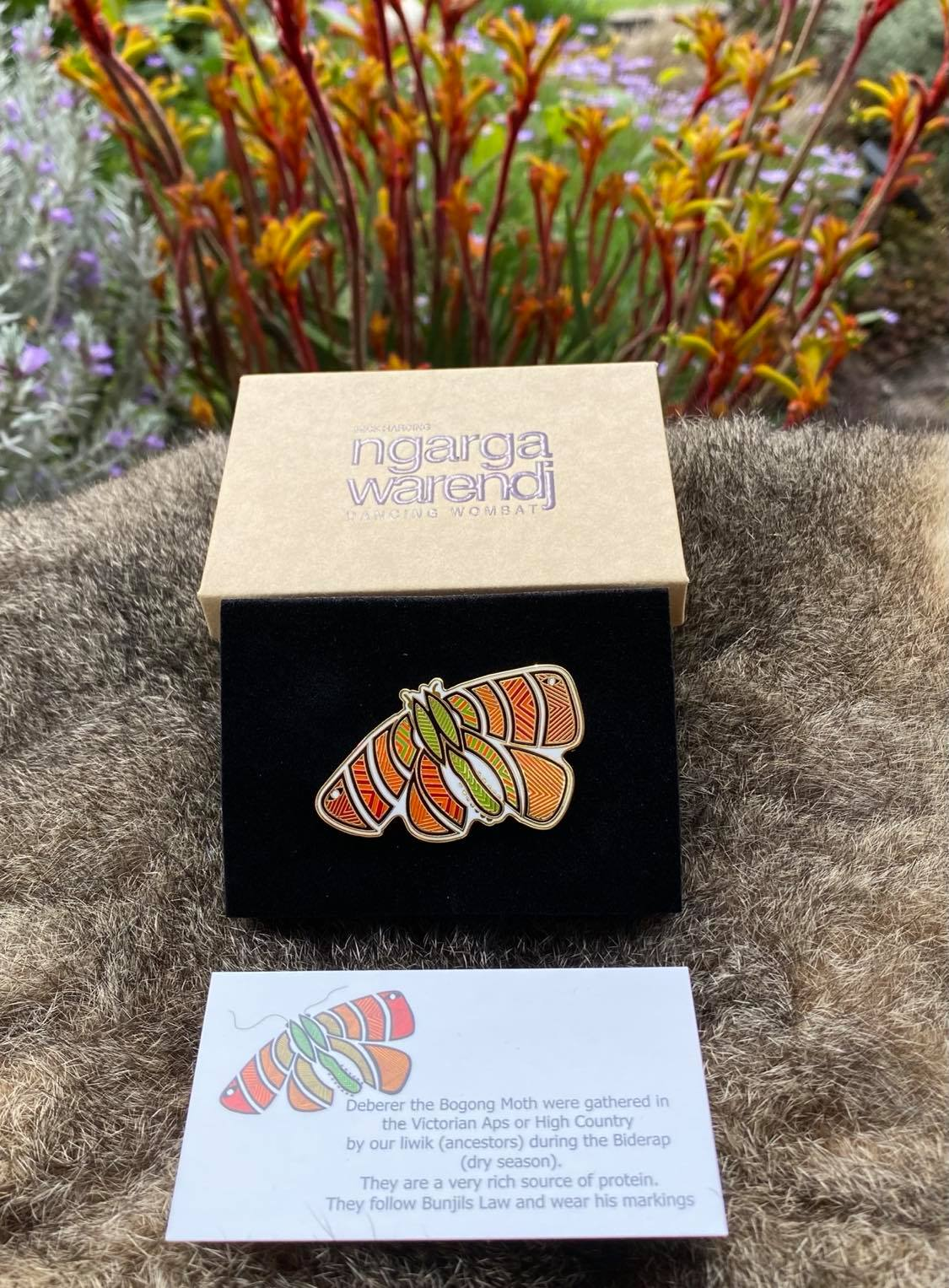 Add a finishing touch to any outfit, with this Lapel Pin featuring an Orange Bogong Moth design by Ngarga Warendj Dancing Wombat