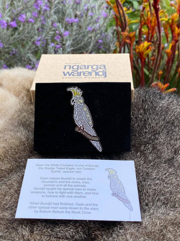 Add a finishing touch to any outfit, with this Lapel Pin featuring Cockaoo design by Ngarga Warendj Dancing Wombat