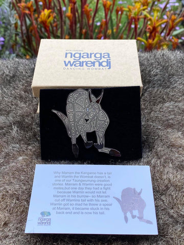 Add a finishing touch to any outfit, with this Lapel Pin featuring Kangaroo design by Ngarga Warendj Dancing Wombat