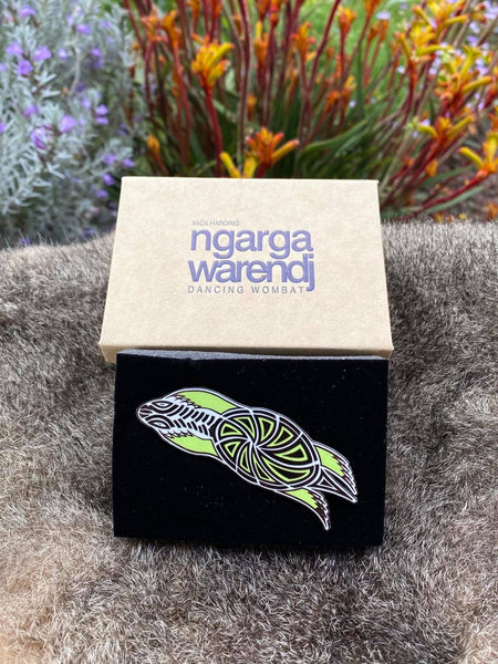 Add a finishing touch to any outfit, with this Lapel Pin featuring a Turtle design by Ngarga Warendj Dancing Wombat