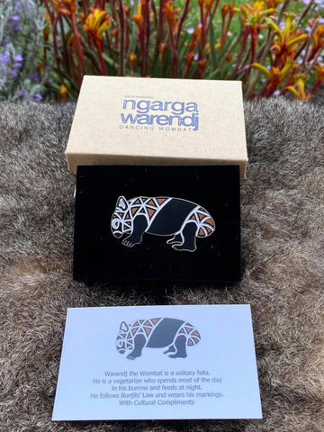Add a finishing touch to any outfit, with this Lapel Pin featuring a Wombat design by Ngarga Warendj Dancing Wombat