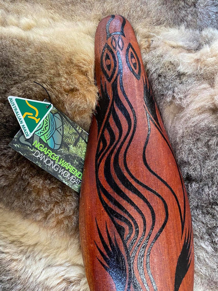 Bili the Bluetongue Lizard Malgarr Shield Design Ngarga Warendj Dancing Wombat Mick Harding South East Aboriginal Art Australian Made