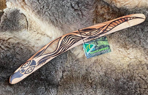 Medium Bili Bluetongue Lizard Wangim / Boomerang. Hand Crafted in Australia by Ngarga Warendj. All our wangim are made from timber collected from tree roots or branches that have a natural bend. All designs are based on traditional symbols from South East Australia