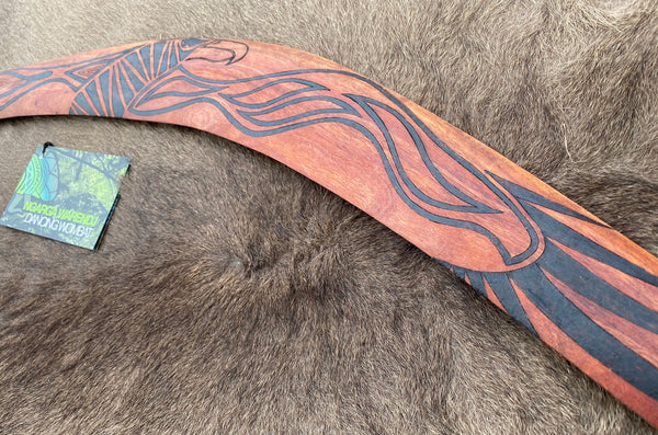 X-Large Bundjil the Wedge Tailed Eagle Wangim / Boomerang. Made from Redgum timber.  Hand Crafted in Australia.  All artefacts come with an information card.  The card has information about the artist, artefact and design. All our wangim are made from timber collected from tree roots or branches that have a natural bend. All designs are based on traditional symbols from South East Australia