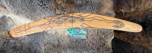 X-Large Barebin Buk the Turtle Wangim / Boomerang. Hand Crafted in Australia by Ngarga Warendj. All our wangim are made from timber collected from tree roots or branches that have a natural bend. All designs are based on traditional symbols from South East Australia