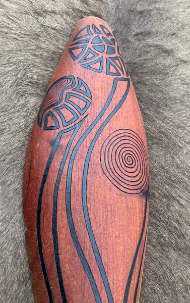 Traditionally malgarr ( shields ) were used with liyangayil ( fighting clubs) for hand to hand combat with our enemies. I have replicated the shape ofthese shields in my artwork. The Kwambee djak or common tree fern was used as a staple food by our old people during the Warendj (wombat season) or cooler months. Handcrafted in Australia from Australian Red Cedar