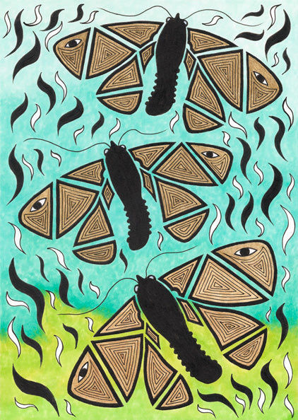 ART CARD THREE BOGONG MOTHS 010-Ngarga Warendj