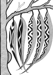 ART CARD GUM LEAVES BLACK & WHITE 039-Ngarga Warendj