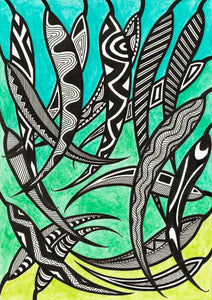 ART CARD - MANY GUM LEAVES 041-Ngarga Warendj