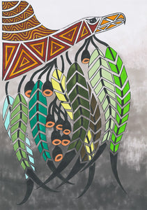 ART CARD BUNJIL WITH GUM LEAVES 052-Ngarga Warendj