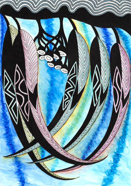 ART CARDS GUM LEAVES BLUE 147-Ngarga Warendj