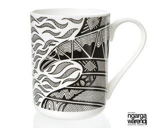 NGARGA WARENDJ DANCING WOMBAT BONE CHINA MUG - BUNJIL WEDGE TAILED EAGLE-Ngarga Warendj