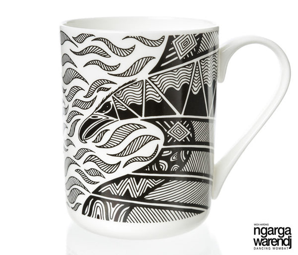 NGARGA WARENDJ DANCING WOMBAT BONE CHINA MUG - BUNJIL WEDGE TAILED EAGLE