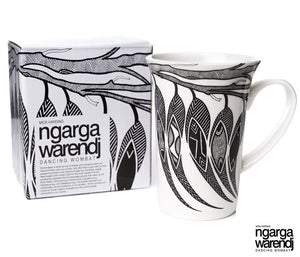NGARGA WARENDJ DANCING WOMBAT BONE CHINA FLUTED MUG with GUM LEAVES