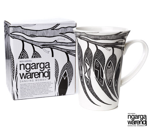 NGARGA WARENDJ DANCING WOMBAT BONE CHINA FLUTED MUG with GUM LEAVES-Ngarga Warendj