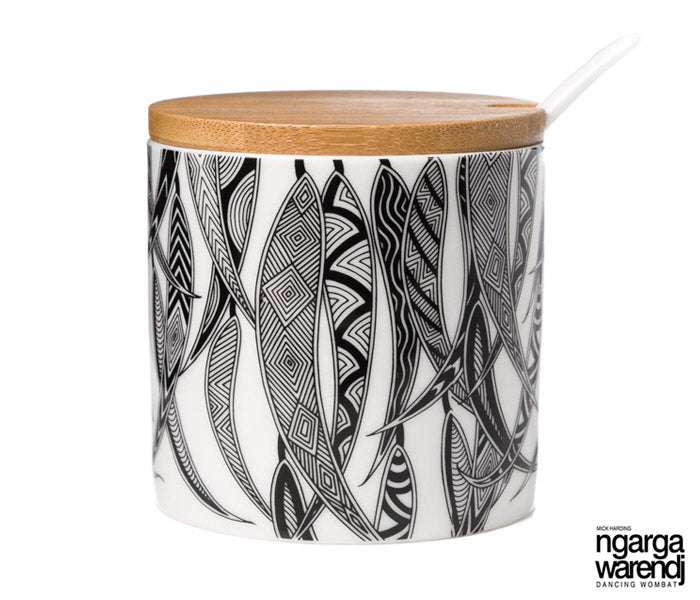 NGARGA WARENDJ DANCING WOMBAT SUGAR BOWL - MANY GUM LEAVES DESIGN-Ngarga Warendj
