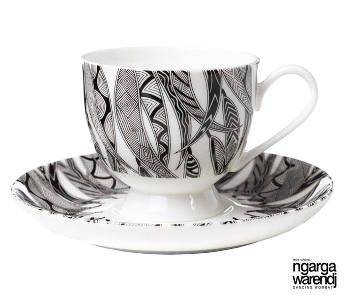 NGARGA WARENDJ DANCING WOMBAT TEA CUP AND SAUCER - MANY GUM LEAVES DESIGN-Ngarga Warendj