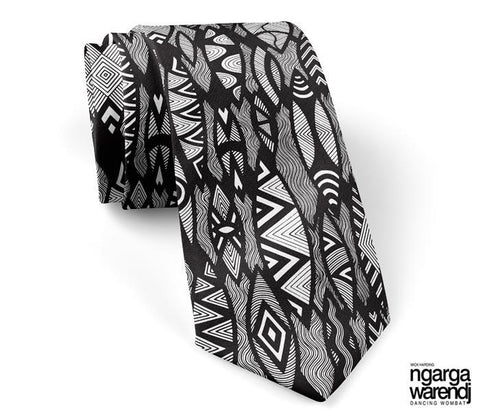 NGARGA WARENDJ DANCING WOMBAT 100% SILK TIE with SHIELD DESIGN-Ngarga Warendj