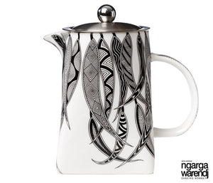 NGARGA WARENDJ DANCING WOMBAT TEA POT WITH STRAINER - MANY GUM LEAVES DESIGN