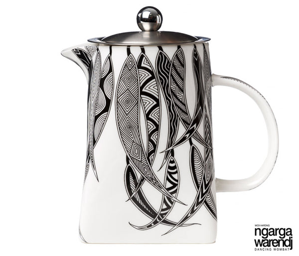 NGARGA WARENDJ DANCING WOMBAT TEA POT WITH STRAINER - MANY GUM LEAVES DESIGN-Ngarga Warendj