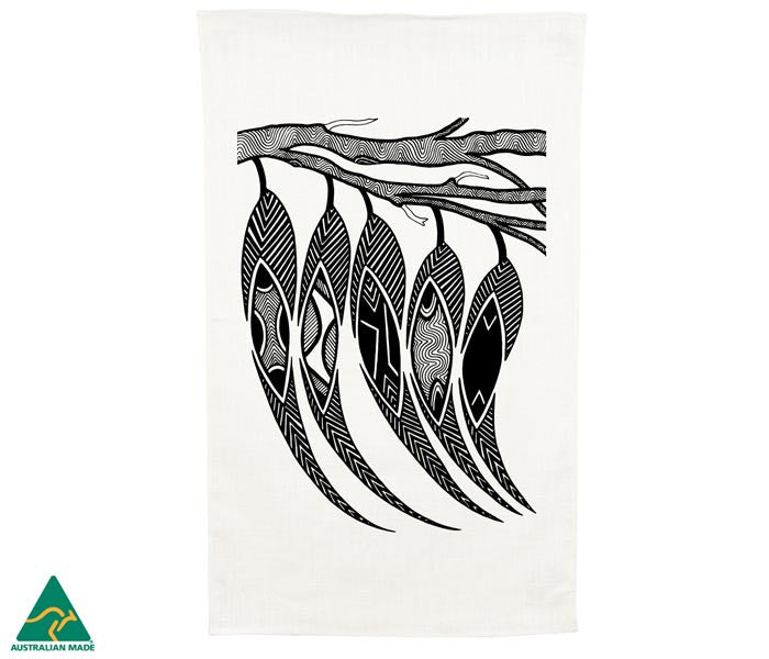 NGARGA WARENDJ DANCING WOMBAT TEA TOWEL with GUM LEAVES DESIGN