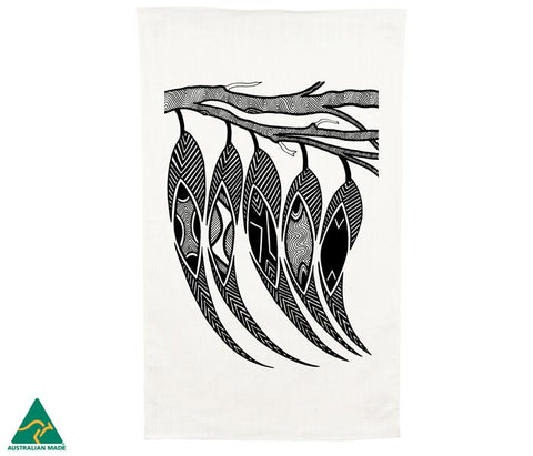 NGARGA WARENDJ DANCING WOMBAT TEA TOWEL with GUM LEAVES DESIGN-Ngarga Warendj