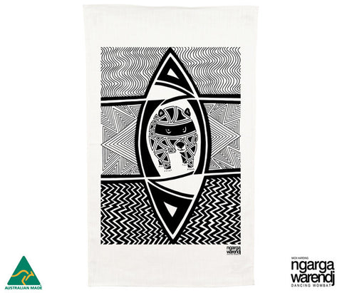 NGARGA WARENDJ DANCING WOMBAT TEA TOWEL with WOMBAT DESIGN-Ngarga Warendj