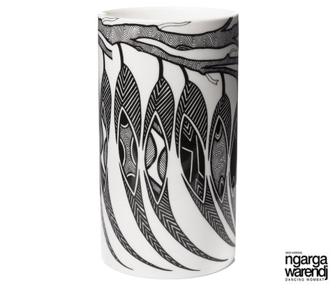 NGARGA WARENDJ DANCING WOMBAT VASE - GUM LEAVES DESIGN-Ngarga Warendj