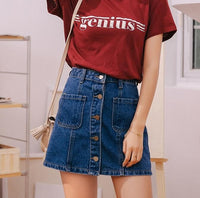 100% high quality top-rated discount various styles Denim Skirt High Waist A-line Mini Skirts Women 2018 Summer New Arrivals  Single Button Pockets Blue Jean Skirt Style Saia Jeans